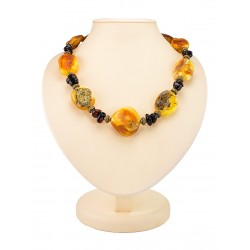 "Beads in the ethnic style of textured natural Baltic amber ""Indonesia"""