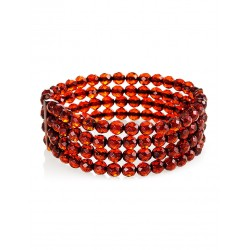 "Four-row bracelet made of natural solid amber ""Caramel faceted wintergreen"""