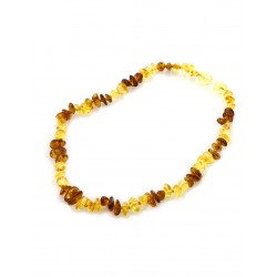 "Children's necklaces ""Pebbles"" from natural amber lemon and cognac color for kids"
