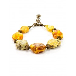 "Bracelet in ethnic style of the natural amber and brass ""Indonesia"""