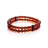 """Double-row bracelet made of natural solid amber """"Caramel diamond wintergreen"""""""