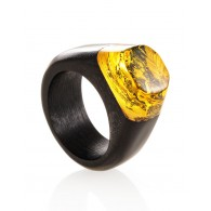 "The striking ring from wood and hornbeam natural amber ""Indonesia"""
