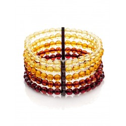 "Spectacular five-row bracelet ""Caramel diamond gradient"" of natural Baltic amber"