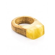 "Ethnic ring unisex natural wood amber and ""Indonesia"""