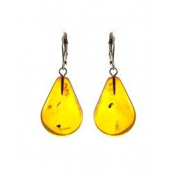 "Glossy bright earrings with natural Baltic amber brandy ""Palanga"""