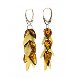 "Elegant earrings made of amber honey and cognac color ""Autumn Leaves"""