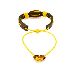 """Bracelet with dark brown leather with an oval cognac amber """"Copacabana"""""""