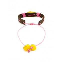 """Bracelet with dark brown skin with a piece of natural Baltic amber honey """"Copacabana"""""""