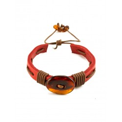"""Bracelet made of red leather with cherry Baltic amber """"Copacabana"""""""