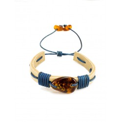 "Neat bracelet made of white leather with cognac Baltic amber ""Copacabana"""