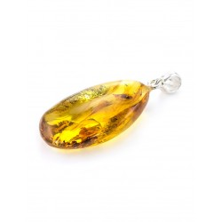 Scenic natural amber pendant cognac-colored with two inclusive