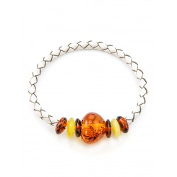 Bracelet ethnic style of leather and natural Baltic amber