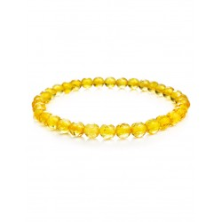 "Sparkling bracelet made of solid natural amber hue lemon ""Caramel diamond face"""