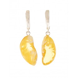 "Elegant earrings ""halves"" of the unusual landscape and lemon amber"