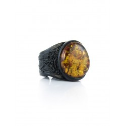 """Ring made of genuine leather with a large round amber cognac """"Nefertiti"""""""