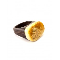 "Ring in eco-style Zebrano wood with a piece of natural Baltic amber ""Indonesia"""