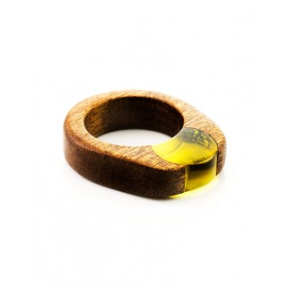 """Ring in eco-style mahogany and amber """"Indonesia"""""""