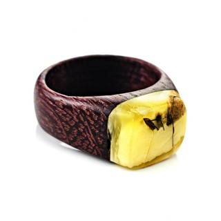 "Ring in the ethnic style of natural Baltic amber and wood Amaranth ""Indonesia"""