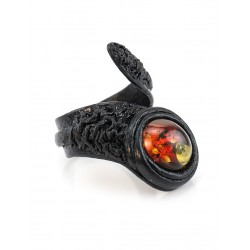 Ring-snake made of genuine leather with a small inset transparent cherry amber