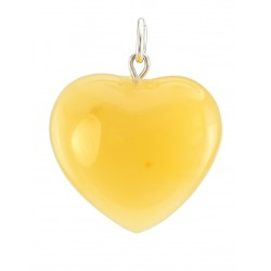 "Beautiful Pendant ""Heart"" of the natural amber honey-colored"