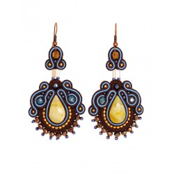 "Beautiful earrings with crystals and natural honey amber ""India"""