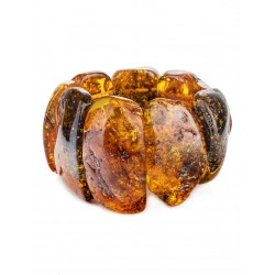 """Beautiful bracelet made of solid amber with sparkling texture """"Pompeii"""""""