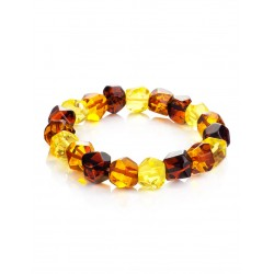"Beautiful elegant bracelet made of natural amber ""Crystal multicolored"""