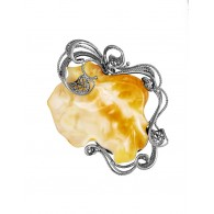 """Large spectacular brooch """"Filigree"""" with honey amber"""