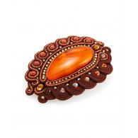 "Large original brooch ""India"", decorated with aventurine, crystals and natural amber"