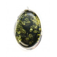 "Large oval pendant-brooch ""Laguna"" Natural Green Baltic amber"