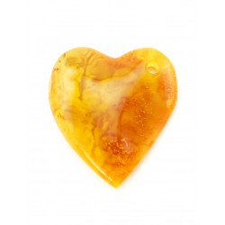 Large pendant made of natural amber beautiful cognac color with a natural crust