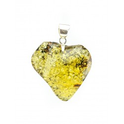 "Large pendant ""heart"" of natural green amber with green sparkles"