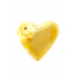 Large heart-shaped pendant made of natural two-color amber