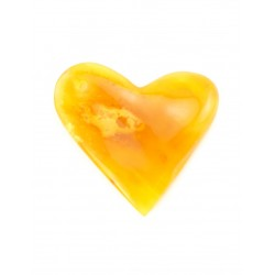Large heart-shaped pendant made of natural scenic saturated amber honey-colored