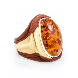 """Large ring in the ethnic style of genuine leather and amber """"Nefertiti"""""""