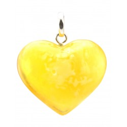 "A large pendant natural Baltic amber honey with the texture of landscape ""Heart"""