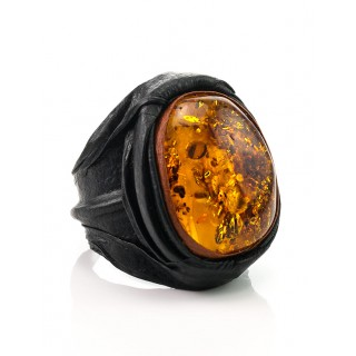 """A large ring of leather, decorated with natural amber """"Nefertiti"""""""