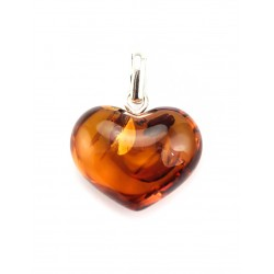 "Pendant natural Baltic amber ""Heart"" red-hot color"