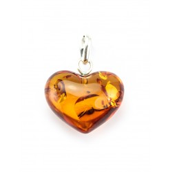 "Pendant natural Baltic amber ""Heart"" cognac"