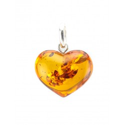 "Pendant natural Baltic amber ""Heart"" with cognac-colored sparks"