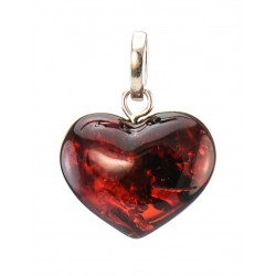 "Pendant natural Baltic amber ""Heart"" cherry"