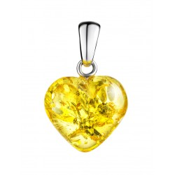 "Pendant made of natural sparkling amber ""Lemon Heart"""