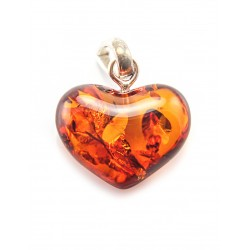 "Pendant made of natural sparkling cognac amber ""Heart"""