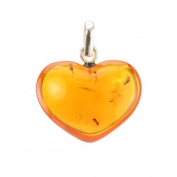 "Pendant made of natural amber brandy with milky cloud ""Heart"""