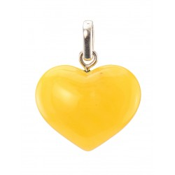 "Pendant made of natural amber piece ""Heart"" honey-colored"