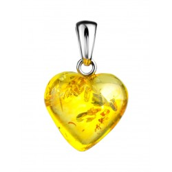 "Pendant made of natural amber ""Heart sparkling lemon"""