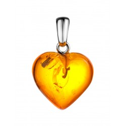 "Pendant made of natural amber ""Heart cognac"""