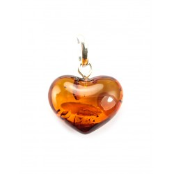 "Pendant made of natural amber ""Heart"" cognac color"