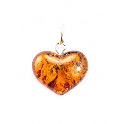"Pendant made of natural amber ""Heart"" with cognac-colored sparkles"