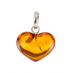 "Pendant made of transparent Baltic amber ""Heart"" tea-colored"